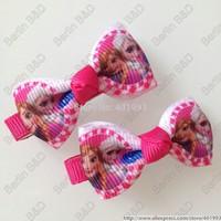 50pcs/lot 2'' Peppa pig hair bow clips,8 colors FROZEN hair accessories,Princess Anna ELSA hair bow clips 9084