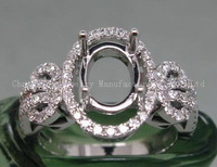 14K White Gold 7x9mm Oval Cut Natural Diamond Semi Mount Setting Ring
