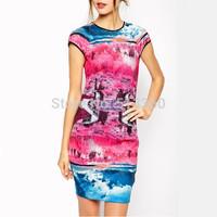 New Fashion lady stylish beautiful scenery print o neck sheath Dress women sweet short sleeve casual commuting party  mini dress