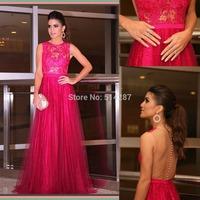 Vestido De Festa O Neck Tank Long A Line Fuchsia Lace Women Formal Evening Dresses Special Occasion Party Dress Gowns 2014 New