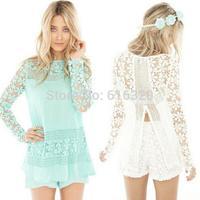 XFYS307 Crochet Flower Shirt  Retro Long Sleeve Women Blouse Blusas Femininas 2014 European Style Fashion Blouses Shirt
