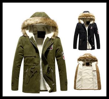 Новое поступление 2014 мужчины парки зима мода длинное пальто для пальто флис свободного покроя стенд одежда 3 цвет горячая распродажа 1301