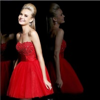 Short Lace Bridesmaid Dress 2014 New Beaded Sweetheart Sleeveless Ball Gown zipper In Stock Size  party dresses vestido vermelho