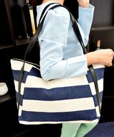 Handbags women Stripe bag Canvas Shoulder Bag leather vintage fashion plaid big bag  New Women's Lady Street Style Causal bag