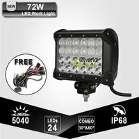 Quad 4 Row CREE 72W LED Work Driving Light Bar Heavy Duty Off Road 4X4 Farming Military 4WD Wagon Spot Flood Combo Beam Lamp
