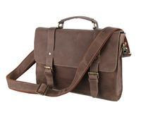 Guaranteed 100% Genuine leather Classic belt-type Buckle clamshell men handbag Quality Crazy horsehide Adjustable straps