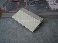 Kingfom Brand Design New Arrivals White Plaid PVC Leather Namecard Holder Metal Frame Card case 1317