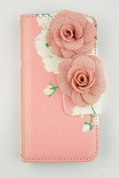 Hot Fashion Luxury Peony Cloth Flower Rosette Flip Wallet Leather Case For iPhone 6 6G 4.7'' And For iPhone 6 Plus 5.5Inch