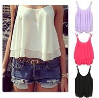 Spring Summer Casual Shirts Sleeveless Spaghetti Strap Sexy Chiffon Women Blouses Vest Tops 2014 New CHIC! W4387