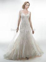 Exquisite Sheer V Neck Lace Applique A-Line Formal Long Sexy Backless Bridal Wedding Dresses 2015