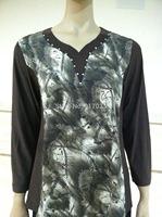 2014 New  Womens loose  T-shirts Summer long Sleeve  Casual design big  woman  t-shirt tops free size