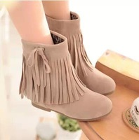 Free shipping new 2014 tassel short autumn boots ankle boots heels winter warm students cute beige suede boots fashion women