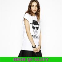 2014 New Fashion Spring Summer Women's O Neck Breaking Bad Heisenberg Print Loose Fit T-Shirt Shirt Cotton Women Blouse in Stock