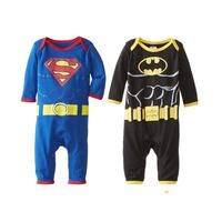 2014 Cotton Romper Superman Batman  models Baby One-Piece Tuxedo Rompers Long Sleeve RomperCDM-273C