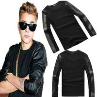 2014 New brand clothing men Base shirt Justin bieber clothes baseball uniform men leather stitching jacket fur t-shirt XS-XXXL