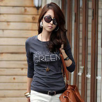 Plain TShirt Korean Vesion Casual Letter Print Long Sleeved Cotton Tops Simple Look Slim Body Autumn Basic Wear 4Color 8083