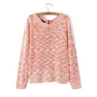 2014 women casual wool blend mix color knitwear o-neck zipper fly sweater 453913