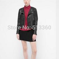 New women stylish classical black PU leather jacket coat female vintage zipper autumn long sleeve commuting outwear coat