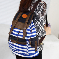 Cheap Products Women Girl Striped Canvas Backpack Leisure School Backpacks For Teenagers Travel Rucksack