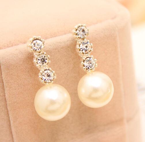 Noble Women Luxury Simulated Pearl Sparking Rhinestone Drop Earrings TH-E121(China (Mainland))