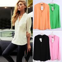 Women Casual Shirts Spring Summer Long Sleeve V Neck Feminina Chiffon Top Shirt Blouses Plus Size S-XXXL W4386