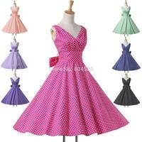 New 2015 Summer Casual Women Clothing Deep V Neck Cotton Polka Dot Dress Short Flower patten dresses Retro Vintage Gown CL6295