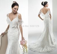 New Designs 2014 Elegant Applique Flowers Sash vestido de noiva sereia V Neck Formal Long Mermaid Wedding Gowns With Sleeves