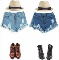 New 2014 Hot Sexy Clubwear Short Jeans Women Vintage Denim High Waist Ripped Hole Button Shorts Jeans Pants Calca JeansFeminina