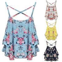 New Fashion Women Summer Top Sleeveless Spaghetti Strap Flower Floral Print Chiffon Top Women Blouse W4388