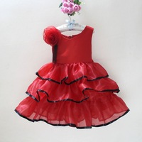Girls Cake Party Dress Flower on the Shoulder Ball Gown Birthday Wedding Dress Red  White Watermelon 0 1 2 3 4