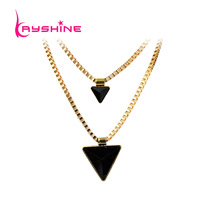 2014 Fashion Luxuriant Jewelry Hollow out Black Created GemstoneTriangle Necklace for Women