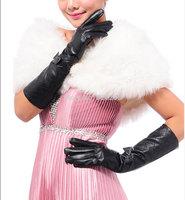 Fashion Women Long 38CM Plaid Bowknot Genuine Lamb Leather Gloves S M L