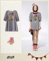 Free Shipping 2014 za* Freshness and Sweet Dresses shorts women Striped  printed Saias  Victoria Beckham Summer-Autumn