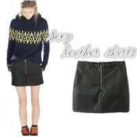 New Fashion lady Classic pocket Solid black PU leather skirts female stylish sexy front zipper fit slim hot short skirts
