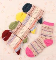 2014 Winter&Autumn Thcikened Rabbit&Wool Mixed Vintage Women Socks Keep Warm&Soft 5 pairs/lot