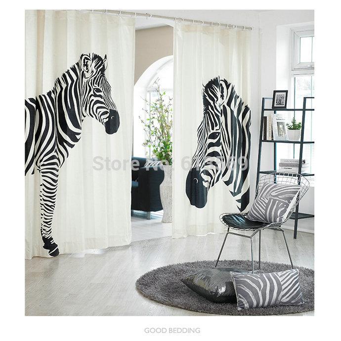 zebra wohnzimmer:Black and White Window Curtains