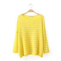 Women casual cotton blend yellow color navy stripes knitwear o-neck pullover oversize sweater 252133