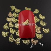 MNS607  gold/silver butterfly shape metallic 3d nail poish stickers beauty nail art supplies 1000pcs/pack