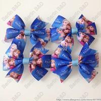 Free shipping 20pcs/lot 3.5'' frozen hair bow clips,Princess elsa anna hair bow clips, FROZEN hair accessories 9087