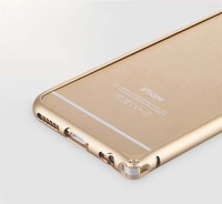 50X Round Arc Frame Screwless Curved Aluminum Bumper Luxury Slim Thin Hard Case No Screw Metal Button For iPhone 6 6G 4.7 inch