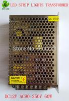 10X 12V 5A 60W 90V-250V Lighting Transformers high quality safe Driver for LED strip 3528 5050 power supply Iron Cover