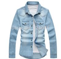 High quality New 2014 European Style Men's Long Sleeve Slim Jeans Shirt Fashion Men Clothing Free Shipping
