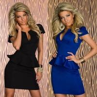 New 2014 Autumn Black Blue Bodycon V Neck New Fashion Career Dress Sexy Casual Club Tunic Girl Clubwear Graceful Dress 80703