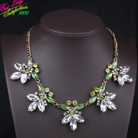 2014 New Arrival Fashion Glass Crystal Gem Alloy Necklace Korean Jewelry Fashion Accessories Statement Clain Green Jewelry 9317