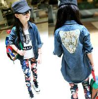 Size120~160 Retail 1pcs spring autumn Long sleeve denim jeans Girls coat kids jackets children outerwear leopard