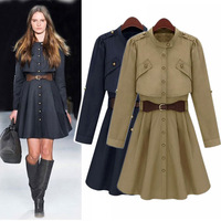 2014 Autumn Trench Coats Women's Trench Outerwear Fashion Stand Collar Single-breasted Long Sleeve Trench Overcoat Fall Clothes