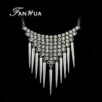 Old Silver Color Luxury Pendant Necklace with Rhinestone Imitation Alloy Pendant Colares Femininos