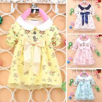 Korean Kids Toddler Girl Fancy Princesce  Dress Cotton Big Butterfly Knot Dress