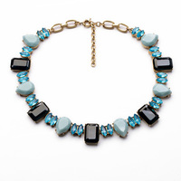 Newest Vintage Brand Exaggerated Gold Blue Crystal Choker Chunky Chain Statement Necklace for Dress
