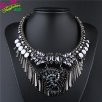 2014 New Arrival Fashion za 3 Color Glass Crystal Gem Alloy Tassel Necklace Fashion Accessories Statement Clain Jewelry 9319